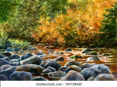 Watercolor landscape painting of river rocks and fall foliage hand painted