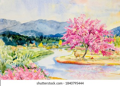 Watercolor landscape painting wild himalayan cherry riverside with deer and mountain forest sky background, in beauty nature spring season. Painted impressionist, illustration image