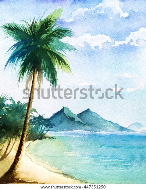 Suluboya Manzara Palmiye Beatch Stok Illustrasyon 447351250
