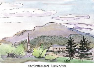 watercolor landscape, parorama of mountains in island