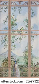 Watercolor landscape with pergola. Wooden window with view of sammer landscape with peacocks and parrots. View from wooden window to landscape with plants, peacocks and parrots.