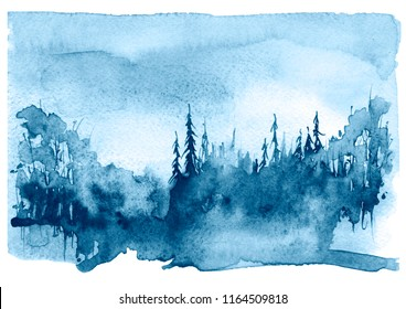Watercolor landscape, picture. Picture of a pine forest, a blue silhouette of trees and bushes. Blue splash of paint.Abstract splash of paint, fashion illustration. Full moon, night landscape, forest.