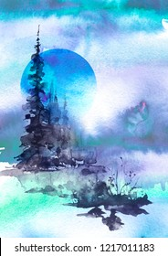 Watercolor landscape, picture. Picture of a pine forest, a blue silhouette of trees and bushes. Blue splash of paint.Abstract splash of paint. Full moon, night landscape, winter forest.