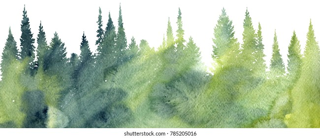 watercolor landscape with pine and fir trees, abstract nature background, forest template, hand drawn illustration