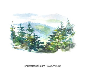 Watercolor landscape of the pine tree forest in the mountains isolated on white. Watercolor pine forest.