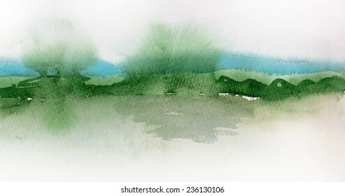 Watercolor landscape with river, forest and mountains