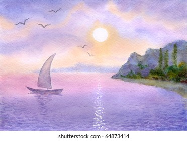 Watercolor landscape. Sailboat on a quiet sea meets the rising sun