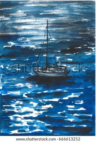 3c4ab2d34 Watercolor Landscape Sea Boat Stock Illustration 666613252 ...