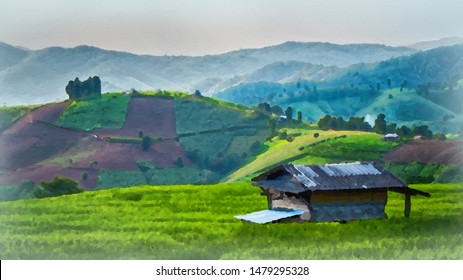 Watercolor landscape of single house in the green paddy field / rice field fram in the afternoon at countryside in Chiangmai, Thailand