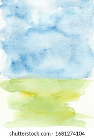 Watercolor landscape with sky & grass.