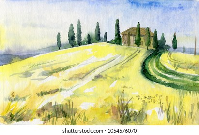 Watercolor landscape of Toscana. Yellow field with trees and little house.
