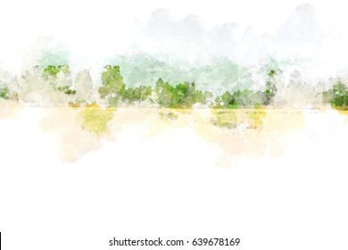 Watercolor landscape with tree, branch tree , watercolor paint.