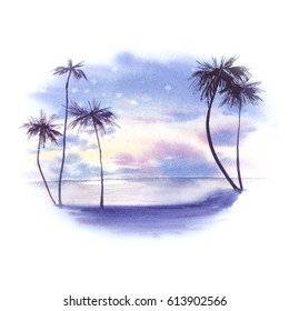 Watercolor landscape: tropical beach sunrise. Hand painted nature view with sea, clouds and palms. Beautiful vacation scene