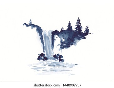 Watercolor landscape of waterfall and pine trees in Chinese Ink technique. Hand drawn calm mountains background for relaxation, meditation & restoration. Paper arts sketch. Asian style sumie painting.