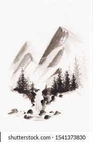 Watercolor landscape of waterfall and spruces with mountains in Chinese Ink technique. Hand drawn calm mountains background for relaxation, meditation & restoration. Asian style sumie painting.