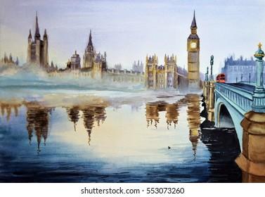 Watercolor landscape of Westminster bridge in London.