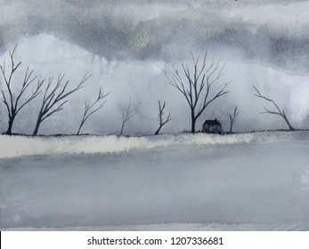 watercolor landscape winter season lonely house in the countryside cover dead tree and snow.