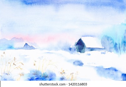 Watercolor landscape. Winter sunset in the village among the trees
