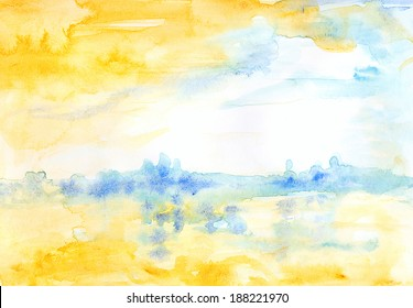 Watercolor landscape yellow and blue. Atmospheric bright abstract watercolor landscape suggesting water, a city perhaps, and clouds.