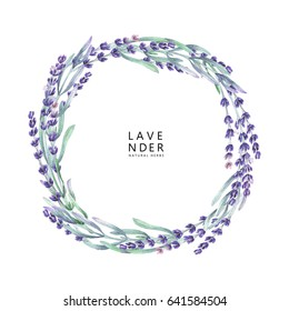 Watercolor lavender wreath. Hand painted provencal herbs isolated on white background