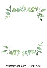 Watercolor Leaf Frame Garland Greenery Leaves Wreath Fall Hand Painted