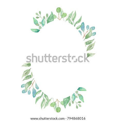 edd24491a093 Watercolor Leaf Frame Leaves Border Greenery Stock Illustration ...