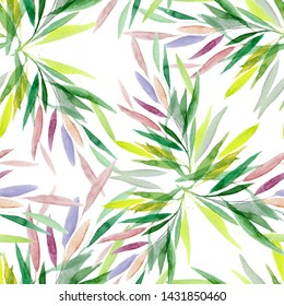 Watercolor leaf seamless pattern isolated white fon