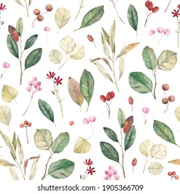 Watercolor leaves, berries and seeds. Vintage seamless pattern. Summer background.