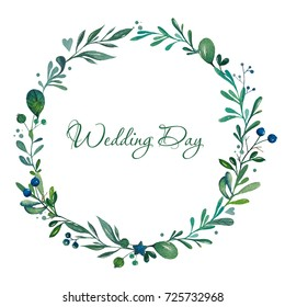 Watercolor leaves and berry romantic wreath. Vintage round frame. Floral wreath in rustic style. Botanical illustration on white background.