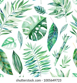 Watercolor leaves branch seamless pattern on white background. Texture with greens,branch,leaves,tropical leaves,foliage,bamboo.Perfect for wedding,cover design,wallpapers,patterns,packaging etc