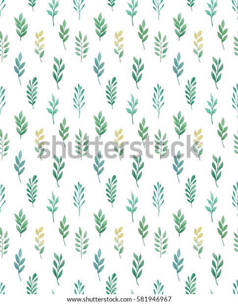 Watercolor leaves and branches pattern.