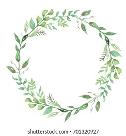Watercolor Leaves Wreath Hand Painted Leaf Foliage Garland