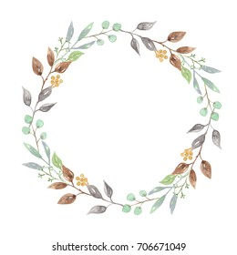 Watercolor Leaves Wreath Leaf Hand Painted Woodland Garland