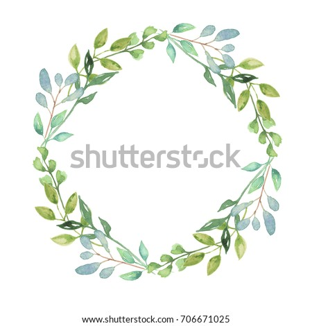 royalty free stock illustration of watercolor leaves wreath leaf