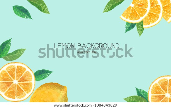 watercolor lemon background.summer  lemon modern flat background.fresh slice cut citrus fruits. Hand drawn watercolour painting on white background. illustration of Set organic food diet fruit.