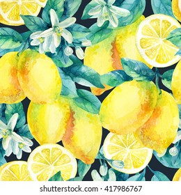 Watercolor lemon fruit branch with leaves seamless pattern on black background. Lemon citrus tree. Lemon branch and slices. Lemon branch with leaves. Hand painted illustration