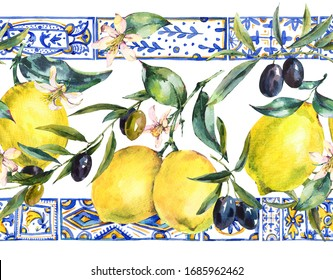 Watercolor lemon, olive branches ornament seamless border, hand drawn yellow, blue print texture. Vintage summer wallpaper.