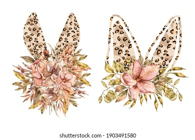 Watercolor leopard Easter floral bunny ears clipart on white background. Can be used for baptism invitation, Easter greeting card, first communion. Bunny ears, green leaves and red poinsettia bouquet