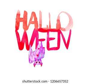 watercolor lettering Halloween and pink bat. Isolated on white.