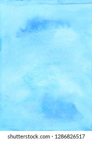 Watercolor light blue gradient background texture. Aquarelle abstract sku blue backdrop. Watercolour trendy template for cards, invitations, blog, design. Ink stains on paper. Cute wallpaper. Beauty.