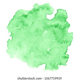 Watercolor light green background with clear borders and divorces. Watercolor brush stains. With copy space for text.