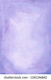 Watercolor light lavender gradient background hand painted. Aquarelle lavender stains on paper. Pastel purple watercolour texture. Vintage abstract wallpaper. Wash drawing trendy backdrop. Cards.