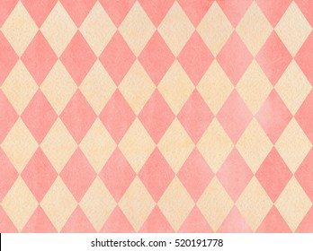 Watercolor light pink and beige diamond pattern. Geometrical traditional ornament for fashion textile, cloth, backgrounds.