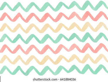 Watercolor light pink, beige and seafoam blue hand painted stripes pattern, chevron.