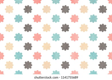 Watercolor light pink, blue, gray and beige flower pattern. Watercolor flowers on white background.
