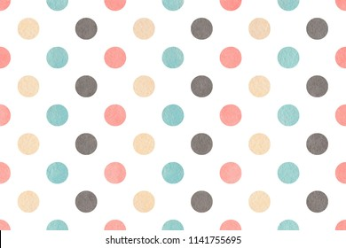 Watercolor light pink, blue, gray and beige polka dot background. Pattern with colorful polka dots for scrapbooks, wedding, party or baby shower invitations.