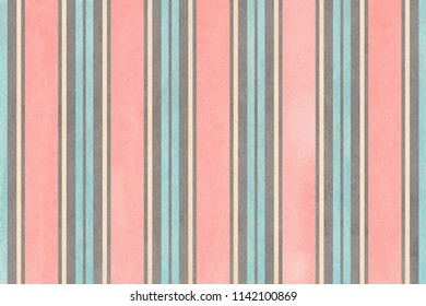 Watercolor light pink, blue, gray and beige striped background.