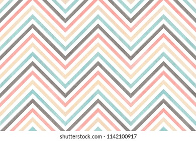 Watercolor light pink, blue, gray and beige stripes background, chevron