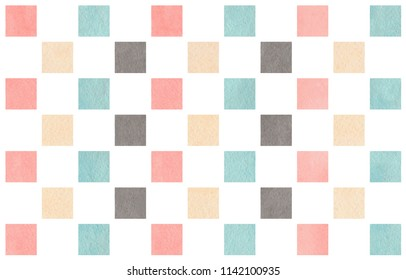 Watercolor light pink, blue, gray and beige square pattern. Geometrical traditional ornament for fashion textile, cloth, backgrounds.
