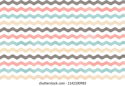 Watercolor light pink, blue, gray and beige wavy striped pattern.